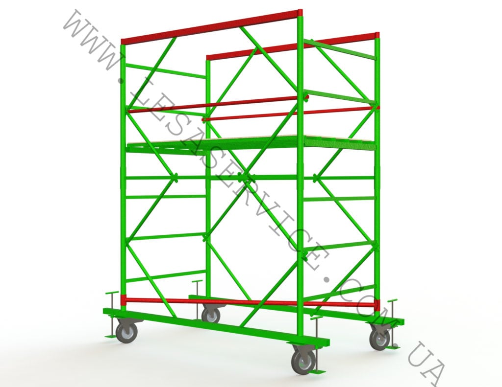 The scaffold tower 1+1, 1,2х2,0 (1 diagonal)